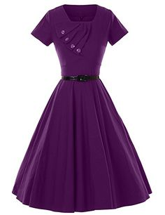 Amazon.com: GownTown 1950s Retro Vintage Short Sleeve Party Swing Stretchy Dresses: Clothing