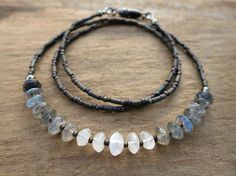 Labradorite and Moonstone Necklace, simple gray and white ombre beaded jewelry, perfect for layering; Labradorite, Moonstone, iron pyrite, gunmetal findings
