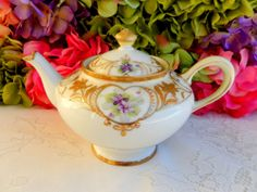 Beautiful Vintage Nippon Porcelain Teapot ~ Hand Painted Floral ~ Gold ~ Beading