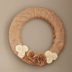 "Burlap Wreath (Could this be made as a ""kit"" with interchangeable ribbons and accents according to the season?  I think yes!)"