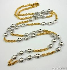 """MONET Gold & Silver Plated Chain Link Necklace 36""""L Classy! $30.00"""