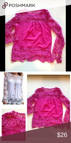 """Pink lace top New boutique item! Gorgeous long sleeve pink lace top. The sleeves bell out slightly and the floral lace is so pretty and sexy! Four sizes available!  S: 17""""UA 25""""L M: 17.5""""UA 25""""L L: 18""""UA, 26""""L XL: 19""""UA 26""""L Tops Blouses"""