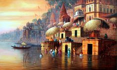 First light at varanasi – Aartique Rishikesh, Indian Contemporary Art, Modern Art, Spiritual Paintings, Blur Photo Background, Indian Art Paintings, Oil Paintings, City Icon, Watercolor Artwork