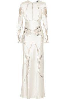 Alexander McQueen Embroidered satin-twill gown   NET-A-PORTER