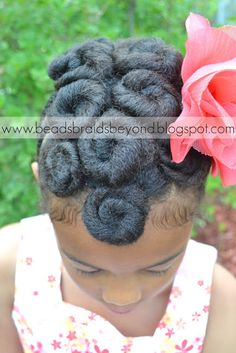 Beads, Braids and Beyond: Natural Hair Updo: Cinnabuns & Flat Twists - This is the front of the style.