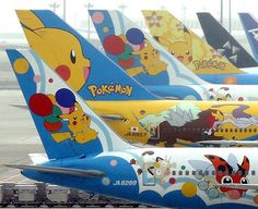 Airway Pokemon Fleet that was in service from -All Nippon Airway Pokemon Fleet that was in service from - ANA - All Nippon Airways Pokemon aircraft at Tokyo - Haneda Int Flugzeug mit Anime Marge Simpson tail :-) Jet Japan, Airline Logo, Aircraft Painting, Airplane Art, Commercial Aircraft, Aircraft Pictures, Nose Art, Pikachu, Pokemon Pokemon