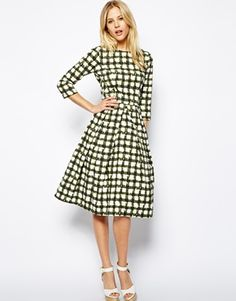 ASOS Skater Dress In Check With 3/4 Sleeve