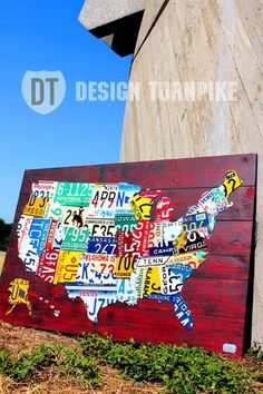 Custom License Plate Map of the United States - Handmade Recycled Artwork by Design Turnpike | Hatch.co