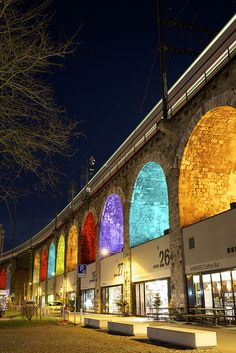 "Meu quintal!! (My backyard) ❤️ Illuminated stone arches of ""Im Viadukt"" in Zurich-Switzerland.    Check it out: http://www.tripadvisor.com/Attraction_Review-g188113-d2076280-Reviews-Im_Viadukt-Zurich.html And the official in german: http://www.zuerich.com/de/besuchen/sehenswuerdigkeiten/im-viadukt"