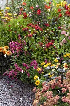 Dit wil ik wel eens verder uitdokteren voor een van mijn eigen borders: een kant-en-klaar beplantingsplan voor 2 m² met bonte planten in warme kleuren!