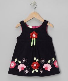 Take a look at this Navy Corduroy Flower Dress - Toddler & Girls by the Silly Sissy on #zulily today!