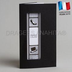 Menu sur le thème du cinema  Vendu à l'unité  Le menu est vendu avec un encart blanc à l'intèrieur.  Offrez de l'originalité à vos convives en donnant des noms de films à vos plats.