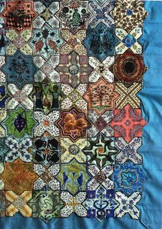 Islamic Tiles, detail, by Lucy Boston Texture - we just love the melding of a traditional Islamic design with a traditional American craft like quilting. Islamic Tiles, Islamic Art, Millefiori Quilts, Cross Quilt, Islamic Patterns, Hexagon Quilt, Geometric Quilt, Quilt Stitching, English Paper Piecing