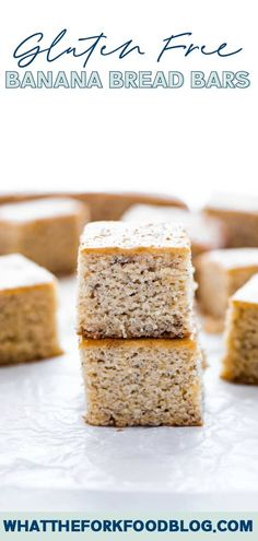 Classic gluten free banana bread baked in a pan for portable, lunchbox friendly, or easy breakfast - gluten free banana bars. Best Gluten Free Banana Bread Recipe, Gluten Free Recipes For Breakfast, Best Gluten Free Recipes, Banana Bread Recipes, Free Breakfast, Breakfast Cake, Brunch Recipes, Banana Bread Bars, Make Banana Bread