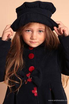 Paltonas fete Girls Blue Embroidery Coat & Hat Set Paltonas cu broderie și pălărie- Set Product Page, Fashion, Embroidery, Moda, Fashion Styles, Fasion