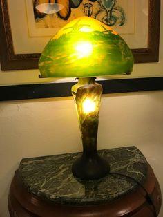 Magnificent Art Deco Glass Lamp w/ Mountain Scenery