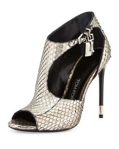 X2QS8 Tom Ford Anaconda Cutout Padlock Bootie, Antique Silver