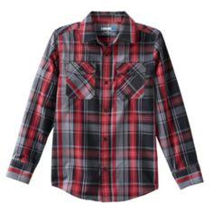 Tony Hawk Plaid Button-Down Shirt - Boys 8-20