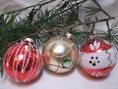 Vintage Poland Glittered Christmas Ornaments (3) Hand Painted. $23.00, via Etsy.