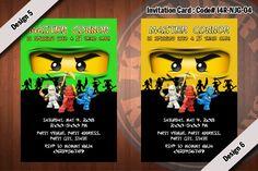 Ninjago Invitation (NJG-04) - Kai, Jay, Cole, Zane, Green, Gold