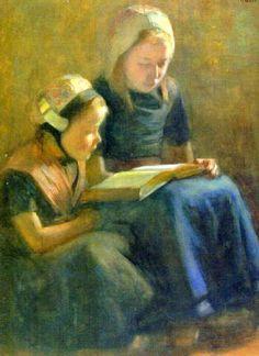 Hendrik Maarten Krabbe (1868 – 1931, Dutch) - Reading To Little Sister