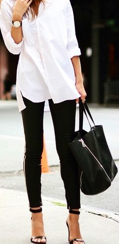 #Oversized #White #DressShirt + #Black #SkinnyPants ~