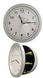Wall Clock Safe: It features a working clock; it has 3 separate spaces inside: clock diameter is: 10 inches and the inside diameter is: 8 inches with a depth of 1 inches. Wall Clock Safe, Wall Safe, Secret Storage, Hidden Storage, Diversion Safe, Hidden Safe, Secret Hiding Places, Secret Safe, Home Protection