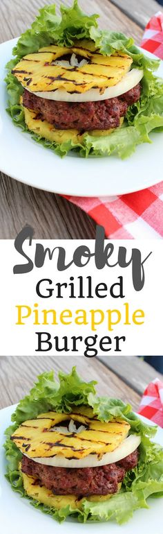 Not just a boring bunless burger. This Smoky Grilled Pineapple Burger is Paleo, Low Carb, Gluten-free, Dairy-Free, and Primal. And soooooo good! Grilling Recipes, Paleo Recipes, Real Food Recipes, Cooking Recipes, Paleo Ideas, Real Foods, Healthy Grilling, Paleo Food, Meal Recipes