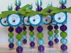 Bowling party bowling birthday  Gumball tube party favors