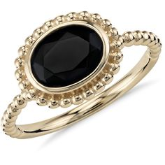 Blue Nile Black Onyx Beaded Ring found on Polyvore featuring jewelry, rings, 14k ring, 14k jewelry, beading rings, 14 karat gold ring and black onyx ring