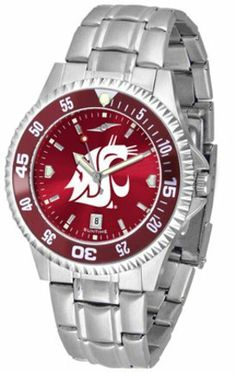 Washington State Cougars Competitor AnoChrome Men's Watch with Steel Band and Colored Bezel by SunTime. $91.67. Showcase the hottest design in watches today! A functional rotating bezel is color-coordinated to compliment the NCAA Washington State Cougars logo. A durable, long-lasting combination nylon/leather strap, together with a date calendar, round out this best-selling timepiece.The AnoChrome dial option increases the visual impact of any watch with a stunning r...
