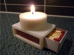3D printed tea light and matchbox holder Maybe something for 3D Printer Chat?