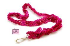 Crochet Woven Ribbon Lanyard ID Badge Holder by NiftyMumzyStudios Crochet Lanyard, Crochet Keychain, Crochet Bookmarks, Pink Color, Colour, Id Badge Holders, Handmade Shop, Breast Cancer Awareness, Color Mixing