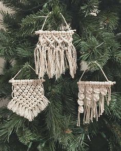 Cutest little ornaments and perfect stocking stuffers! Macrame Art, Macrame Projects, Homemade Stocking Stuffers, Bohemian Christmas, Xmas Ornaments, Book Crafts, Holiday Crafts, Crafty, Handmade Gifts