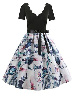 b0fff62759bd2e V-Neck Patchwork Abstract Print Floral Printed Skater Dress #Ad #Abstract, #