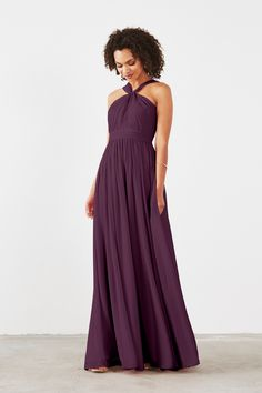 Cora Bridesmaid Dress in Plum in Chiffon