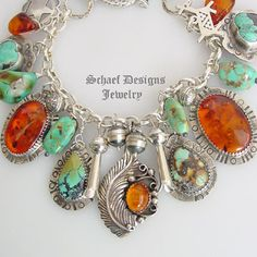 Schaef Designs turquoise, amber, & sterling silver charm bracelet | Fred Harvey Era charms