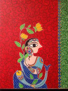 My hand on Madhubani art. Original art by Bharti Dayal