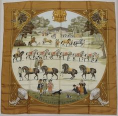 """Auth HERMES """"Presentation des Chevaux"""" by Philippe Ledoux Beige Silk Scarf 5222 #Hermes #Scarf"""