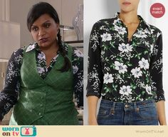 Mindy's black floral long sleeve blouse and green checked vest and skirt on The Mindy Project.  Outfit Details: http://wornontv.net/37028/ #TheMindyProject