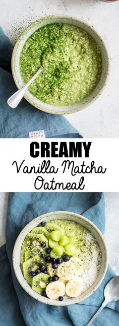 This creamy vanilla matcha oatmeal is a healthy and easy breakfast recipe made with steel-cut oats! This creamy vanilla matcha oatmeal is a healthy and easy breakfast recipe made with steel-cut oats! Easy Brunch Recipes, Healthy Breakfast Recipes, Healthy Recipes, Healthy Food, Healthy Eating, Healthy Fruits, Healthy Appetizers, Breakfast And Brunch, Brunch Food