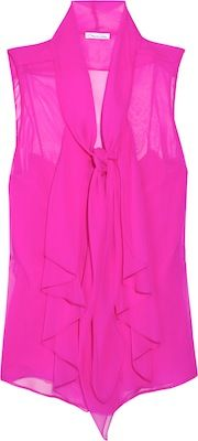 Oscar de la Renta for The Outnet Hot Pink Sleeveless Tie Neck Blouse