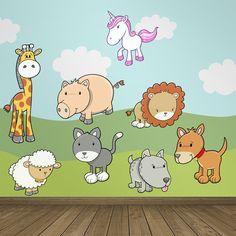 Vinilos Infantiles: animales variados con unicornio, jirafa, cerdo, leon, oveja, gato, perro Vinilo decorativo infantil en kit. #vinilosdecorativos #decoracion #patrones #mosaico #animales #teleadhesivo