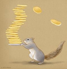Squirrel Carrying A Plate Of Pancakes