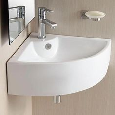 Osseo Vitreous China Wall-Mount Corner Bathroom Sink – Magnus Home Products Bathroom Sink Decor, Bathroom Sink Faucets, Bathroom Layout, Bathroom Colors, Modern Bathroom, Bathroom Organization, Corner Sink Bathroom Small, Bathroom Ideas, Corner Toilet