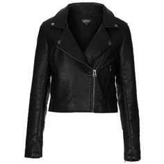 Topshop 'Scarlet' Faux Leather Biker Jacket ($116) ❤ liked on Polyvore