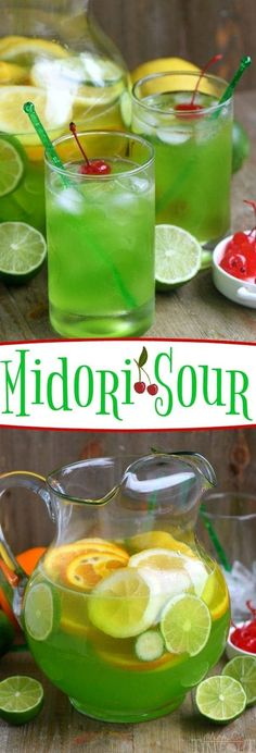 An easy recipe for MIDORI SOUR cocktails! Fruity, fun, and delicious with just a few ingredients! Great for girls night and St. Patrick's Day!
