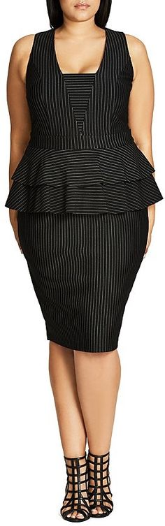 Plus Size Pinstripe Peplum Dress