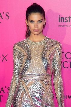 Sara Sampaio in the pink carpet at the Victoria's Secret fashion show 2016 Paris
