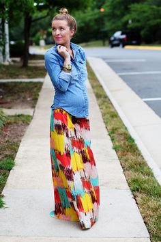 No, I'm not prego, but I love the look of a denim shirt with a maxi skirt.